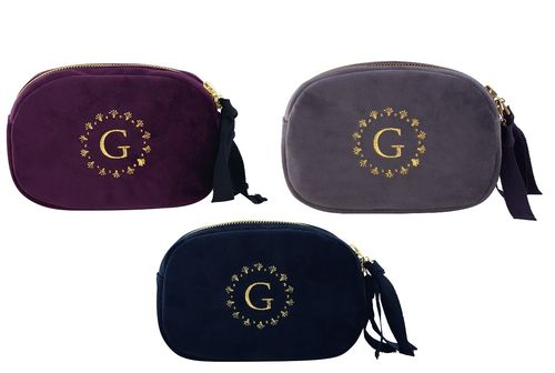 "Kosmetiktasche ""Velvet"" (pale grey/black/plum) von GreenGate. Cosmetic bag"