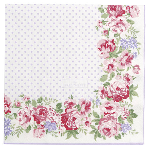 "Papierservietten ""Rose"" (white) von GreenGate. Paper napkin large"