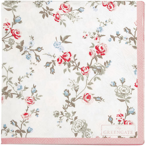 "Papierservietten ""Carly"" (white) von GreenGate. Paper napkin small"